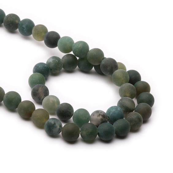 Green Moss Frosted Agate Round Beads