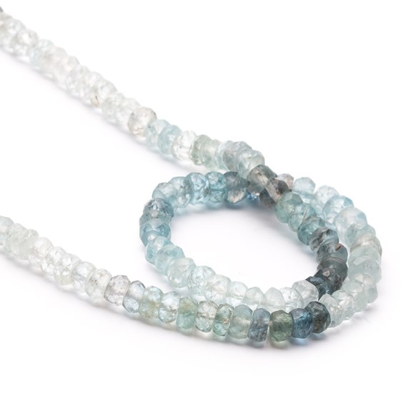 Moss Aquamarine Faceted Rondelle Beads, Approx 4x2mm