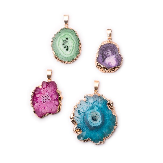 Ready To Wear Electroplated Freeform Drusy Agate Slice Pendants