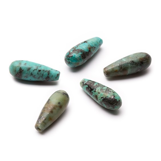African Turquoise Top Drilled Teardrop Gemstone Beads, 16x6mm
