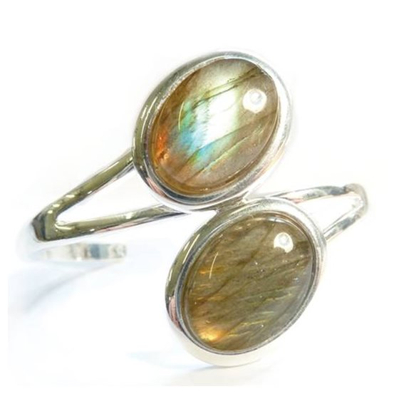 Silver Plated Bangle Setting for 18x13mm Cabochon Stones
