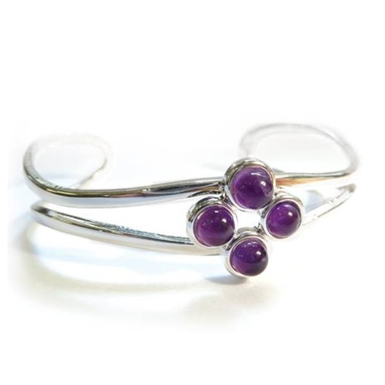 Silver Plated Bangle Setting for 5mm Round Cabochon Stones