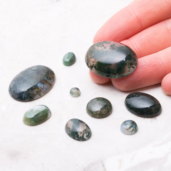 Green Moss Agate Cabochons