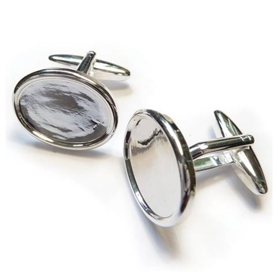 Silver Plated Cufflink Settings for 18x13mm Cabochon Stones (Pair)