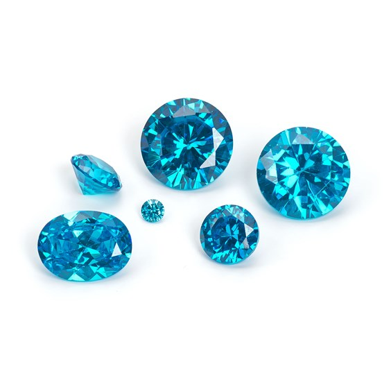 Blue Topaz Coloured Cubic Zirconia Faceted Stones
