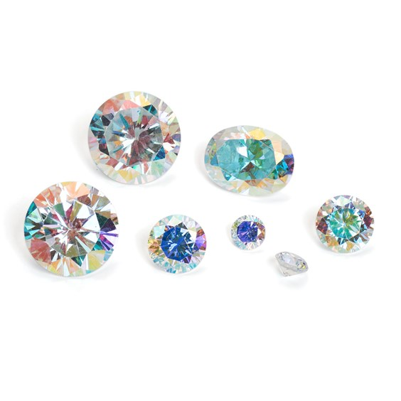 Rainbow Glow Cubic Zirconia Faceted Stones