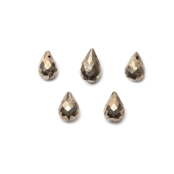Pyrite Faceted Drop Briolette Beads, Approx 8x5mm, Pack Of 10 Beads