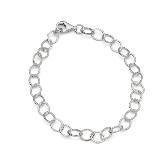 Sterling Silver Large Link Flat Trace Chain, 19cm Bracelet