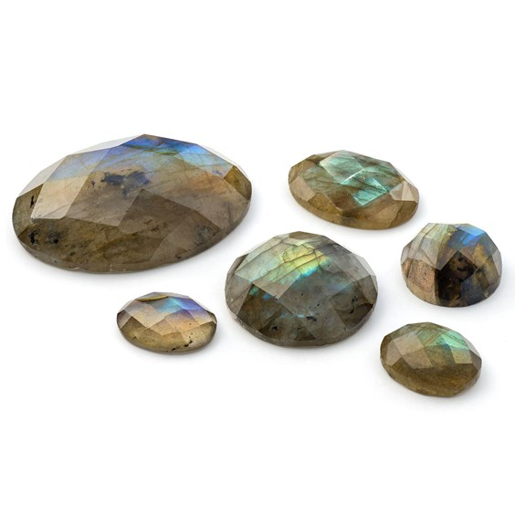 Labradorite Checker Cut Faceted Top Cabochons
