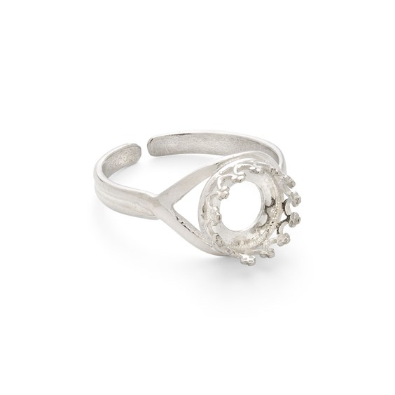 Sterling Silver Gallery Wire Adjustable Ring for 8mm Round Cabochon Stone