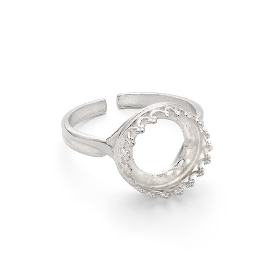Sterling Silver Gallery Wire Adjustable Ring for 12mm Round Cabochon Stone