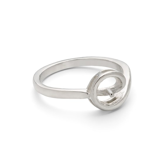 Sterling Silver Ring for One 5-6mm Half Drilled Bead
