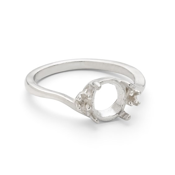 Sterling Silver Ring for 8x6mm and 2mm Round Stones