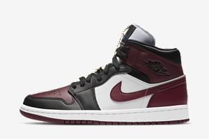 Air Jordan 1 Mid WMNS Maroon Black Gold CZ4385-016 | SneakerNews.com