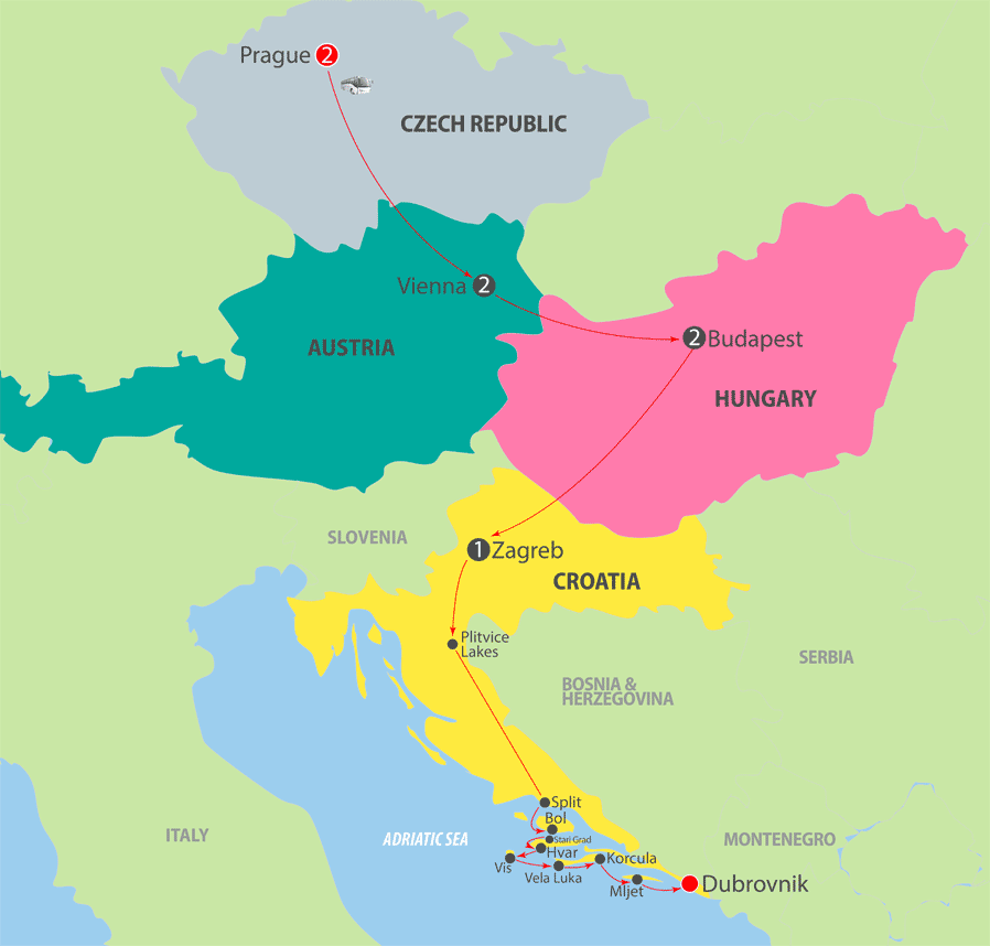 K228 Central Europe and Adriatic Cruise Map