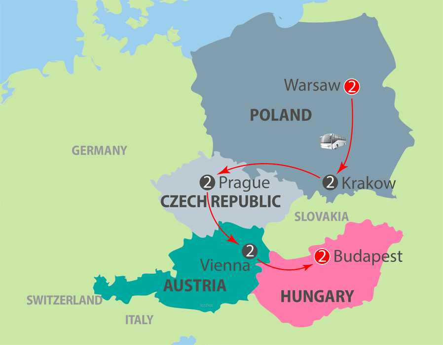11 days from Warsaw to Krakow, Prague, Vienna and Budapest Escorted Tour Map