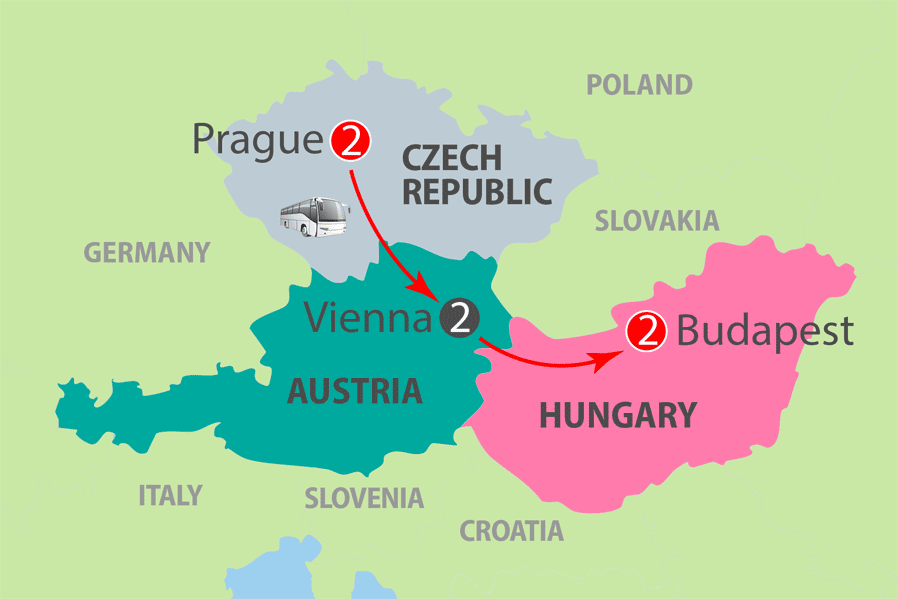7 days from Prague, Vienna and Budapest Escorted Tour Map