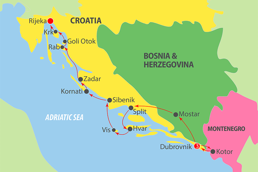 K250 Adriatic Cruise Map
