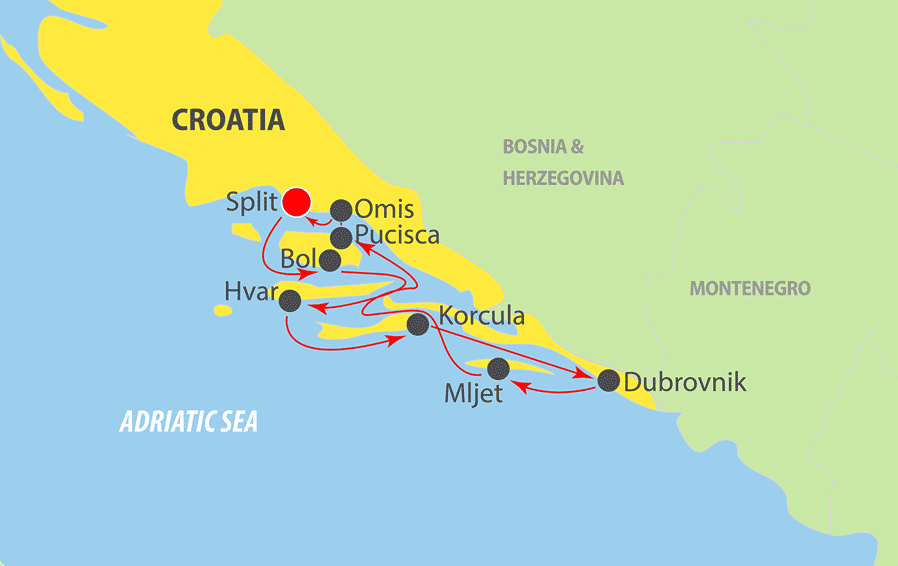 A111 Croatia Adriatic Cruise Map