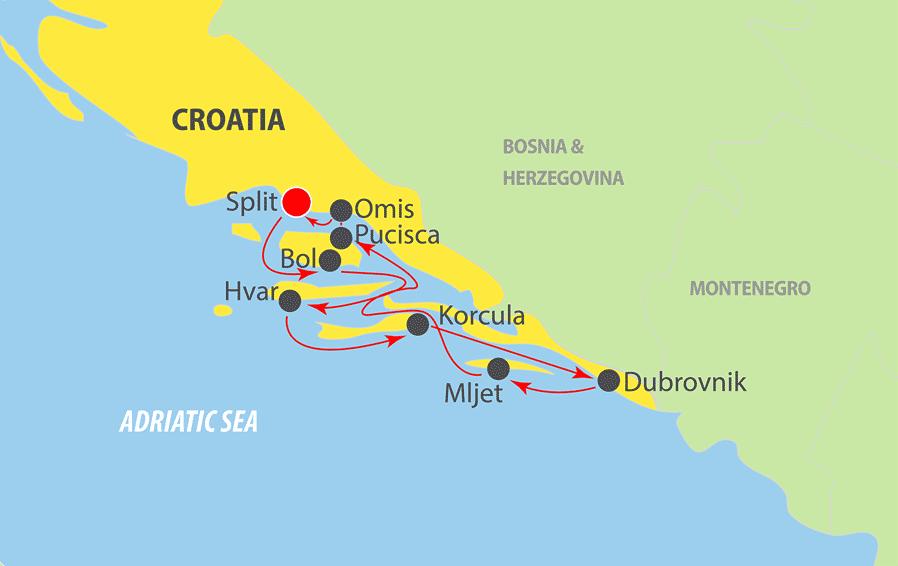 A150 Adriatic Cruise Map