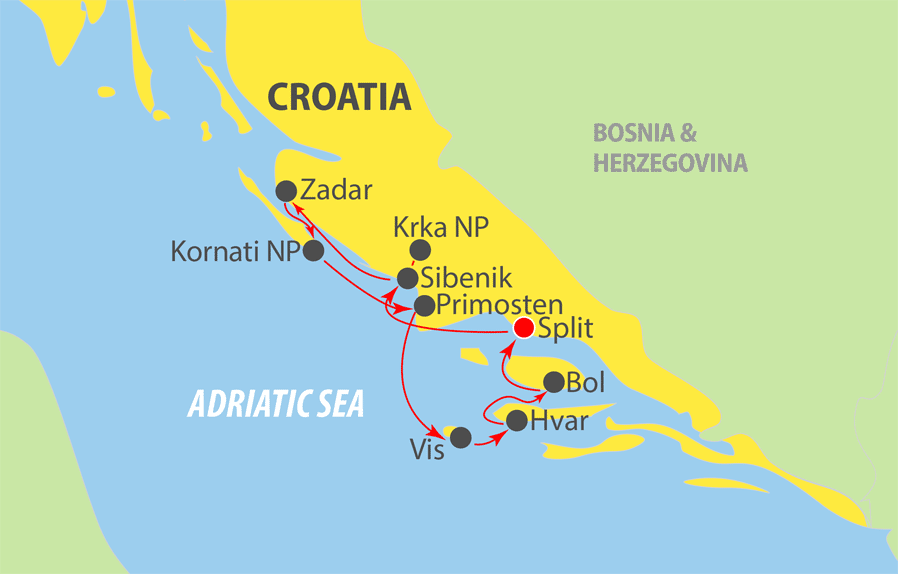 A750 Adriatic Cruise Map