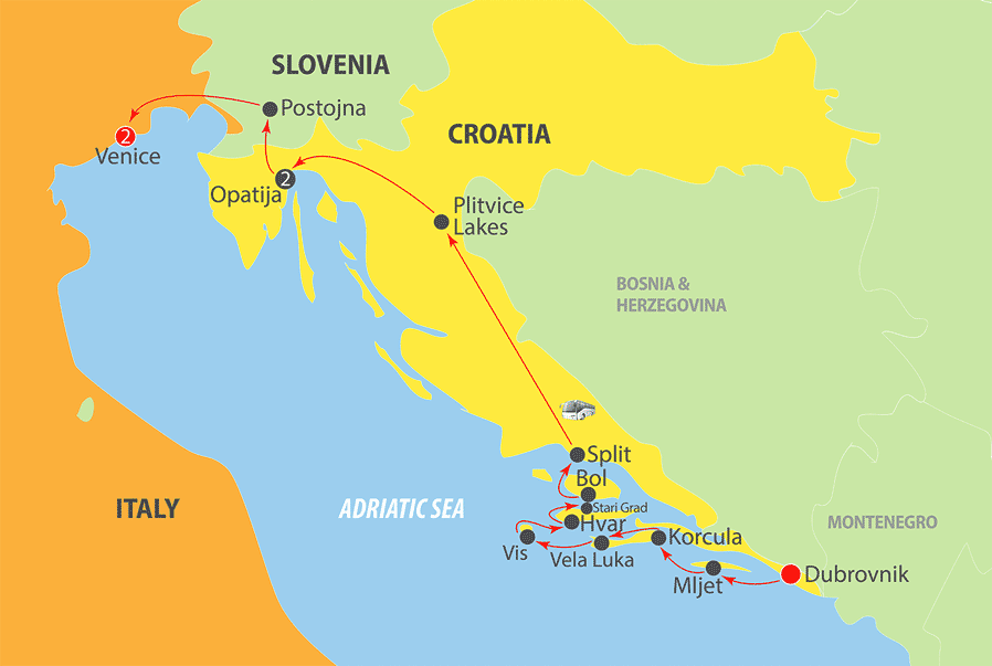 K221 Adriatic Cruise Map