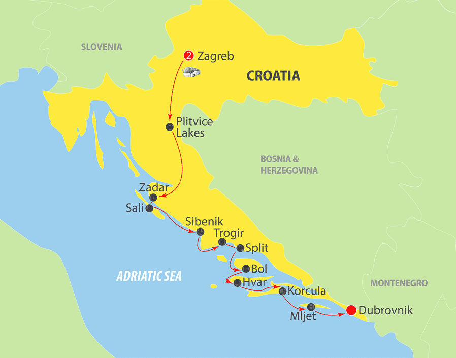 K225 Croatia Adriatic Cruise Map