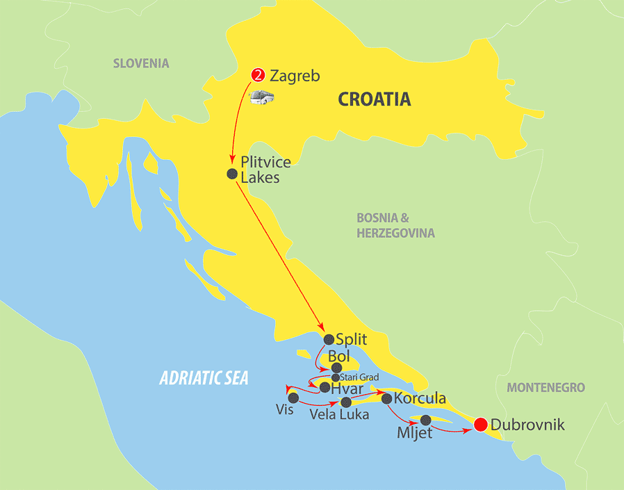 K226 Croatia and Adriatic Cruise Map