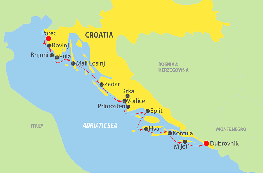 K230 Adriatic Cruise Map