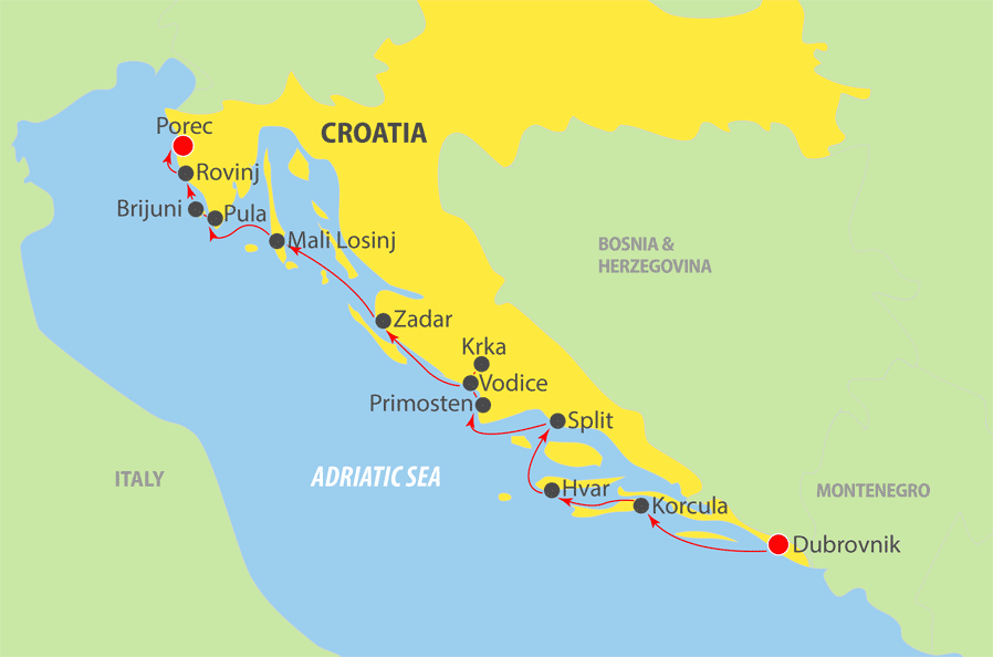 K231 Adriatic Cruise Map