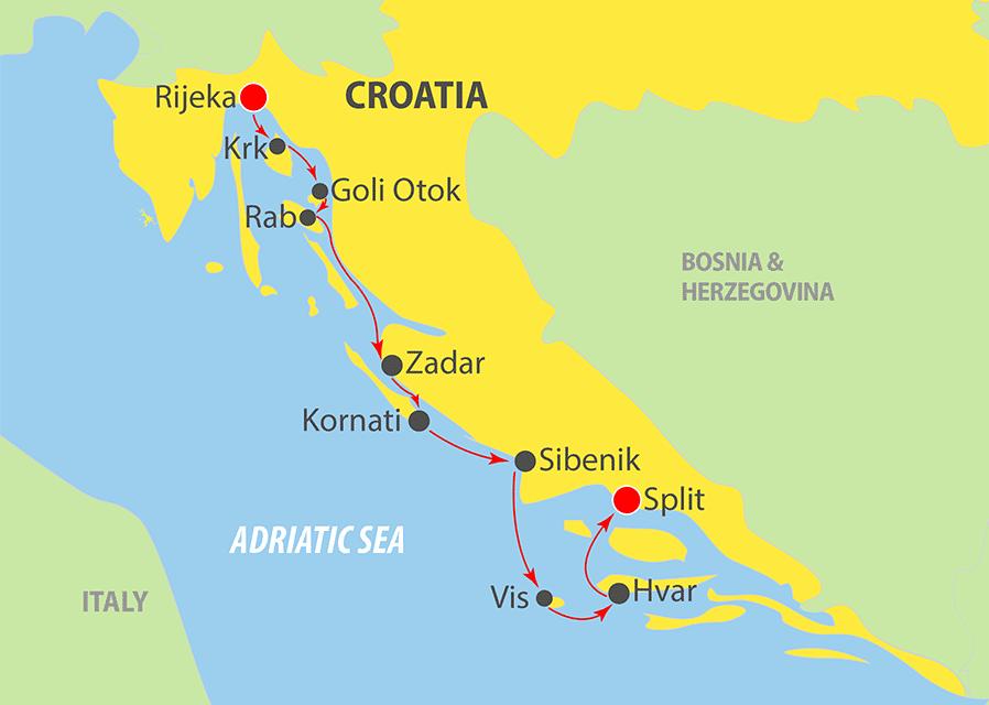 K240 Adriatic Cruise Map