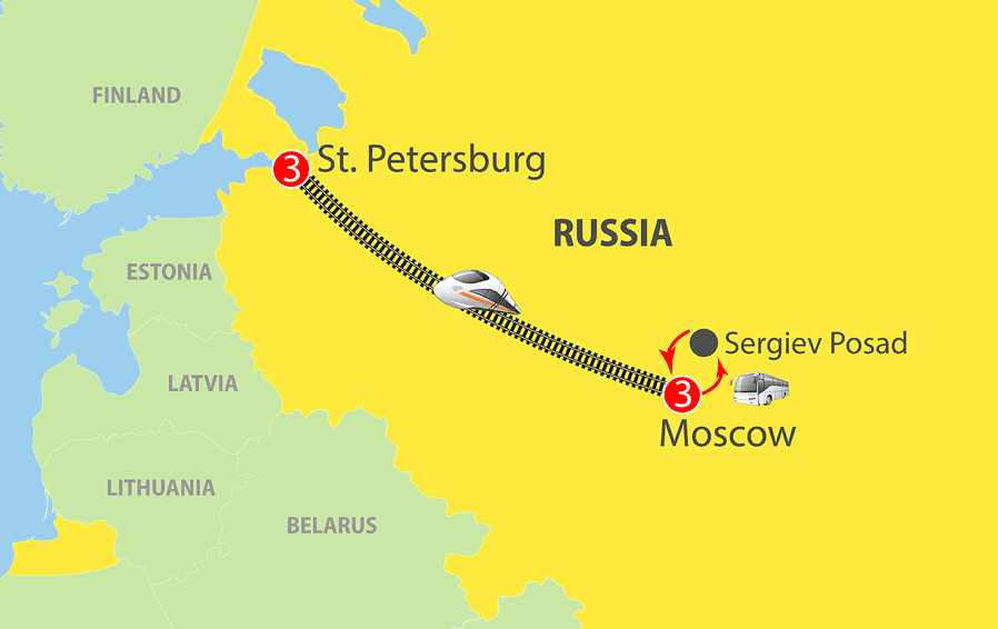 Little Tour of Russia Escorted Tour Map