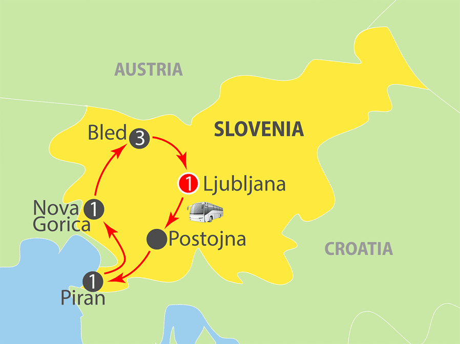 Experience Slovenia Escorted Tour Map