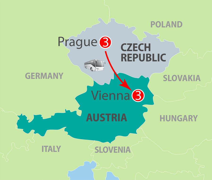 Prague and Vienna Escorted Tour Map