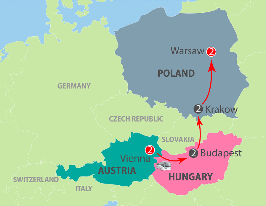 Vienna to Warsaw Escorted Tour Map