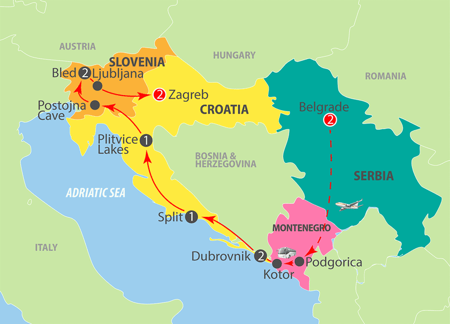 Belgrade to Zagreb Escorted Tour Map
