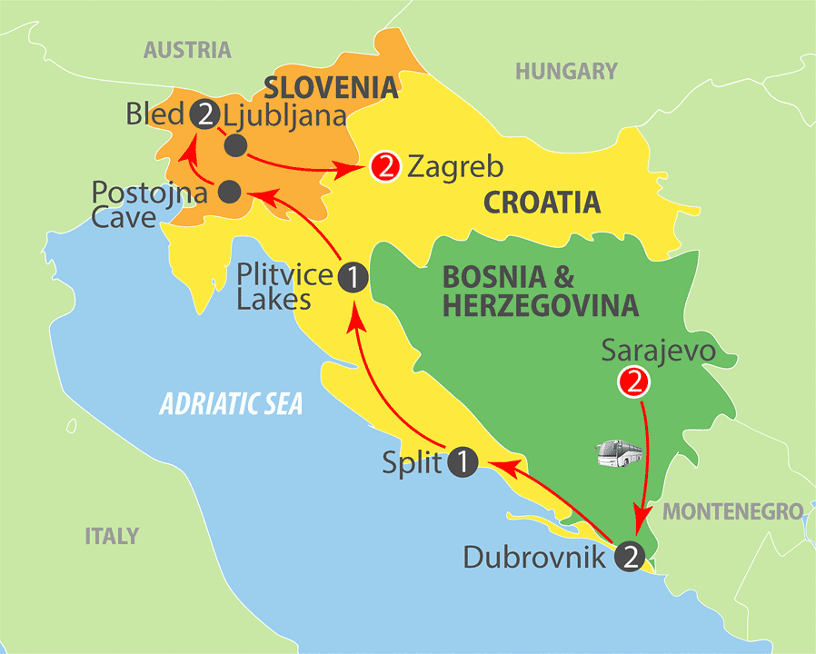 Bosnia, Croatia and Slovenia Escorted Tour Map