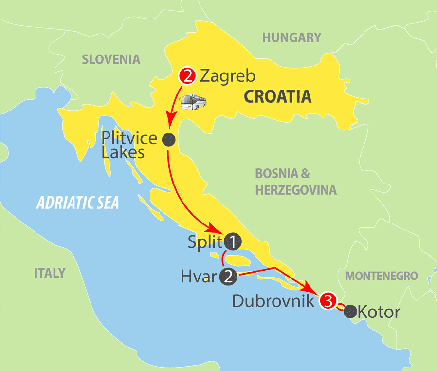 Croatia Express Escorted Tour Map