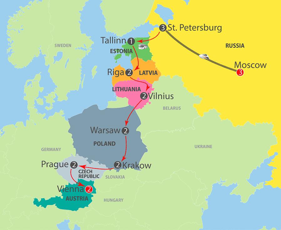 Moscow to Baltic States, Poland, Prague and Vienna Escorted Tour Map