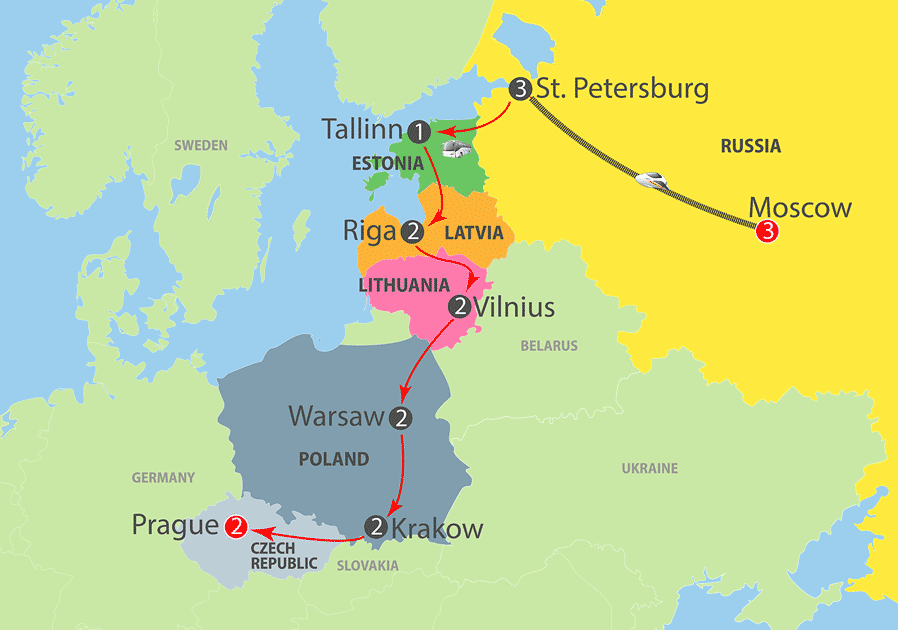 Moscow to Baltic States, Poland and Prague Escorted Tour Map