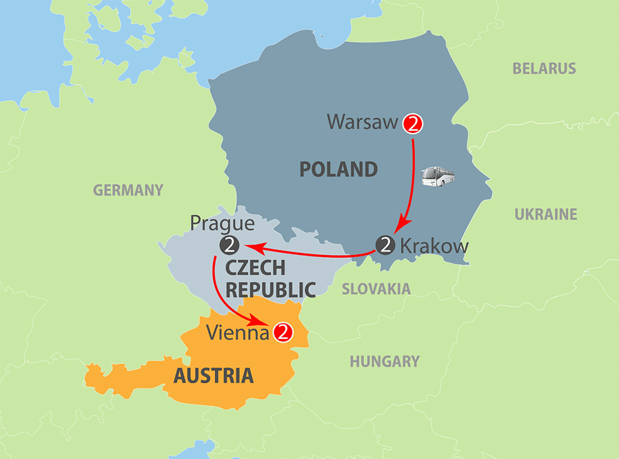 Warsaw to Vienna Escorted Tour Map