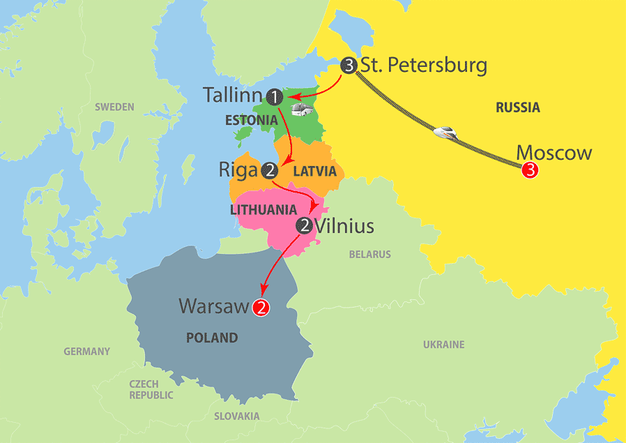 Best of Russia, Baltic States and Warsaw Map