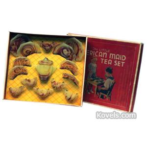 Akro agate Tea Set Little American Maid Interior Panel Lemonade Oxblood Onyx Box 17 Piece   Kovels' Price Guide