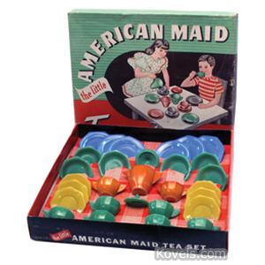 Akro agate Tea Set Little American Maid Octagonal Opaque Colors Closed Handles Box 29 Piece | Kovels' Price Guide