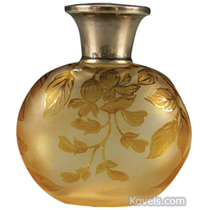Cameo glass Perfume Bottle Frosted Leafy Branches Round Flared Silver Collar Lid | Kovels' Price Guide