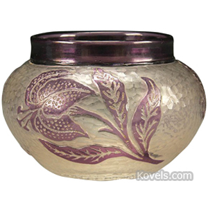 Cameo glass Vase Amethyst Stemmed Lilies Frosted Martele Richardson | Kovels' Price Guide