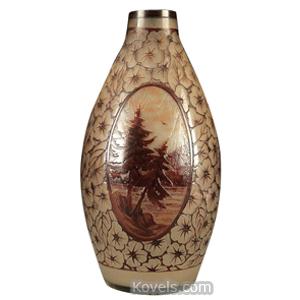 Cameo glass Vase Burgundy Medallions Lake Scenes Art Deco Flowers Oval DArgyl   Kovels' Price Guide