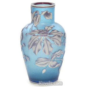 Cameo glass Vase Cascading Flowers Leaves Butterfly Red On White On Blue Shouldered | Kovels' Price Guide