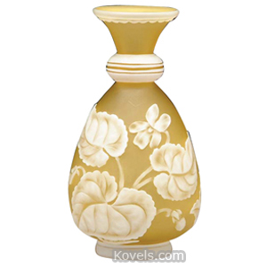 Cameo glass Vase Sweet Peas Leaves Chartreuse Frosted Ground Tapered Arsall   Kovels' Price Guide