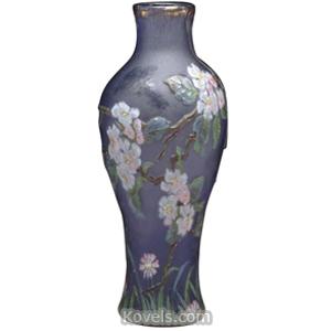 Cameo glass Vase Wheel Carved Apple Blossoms Blue Gold Trim Burgun Schverer   Kovels' Price Guide